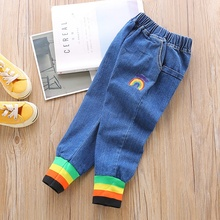 1-6T Baby Girl Boy Pants Cute Children Kids Autumn Rainbow Embroidered Ribbed Beam Mouth Comfortable Cotton Denim Loose #m