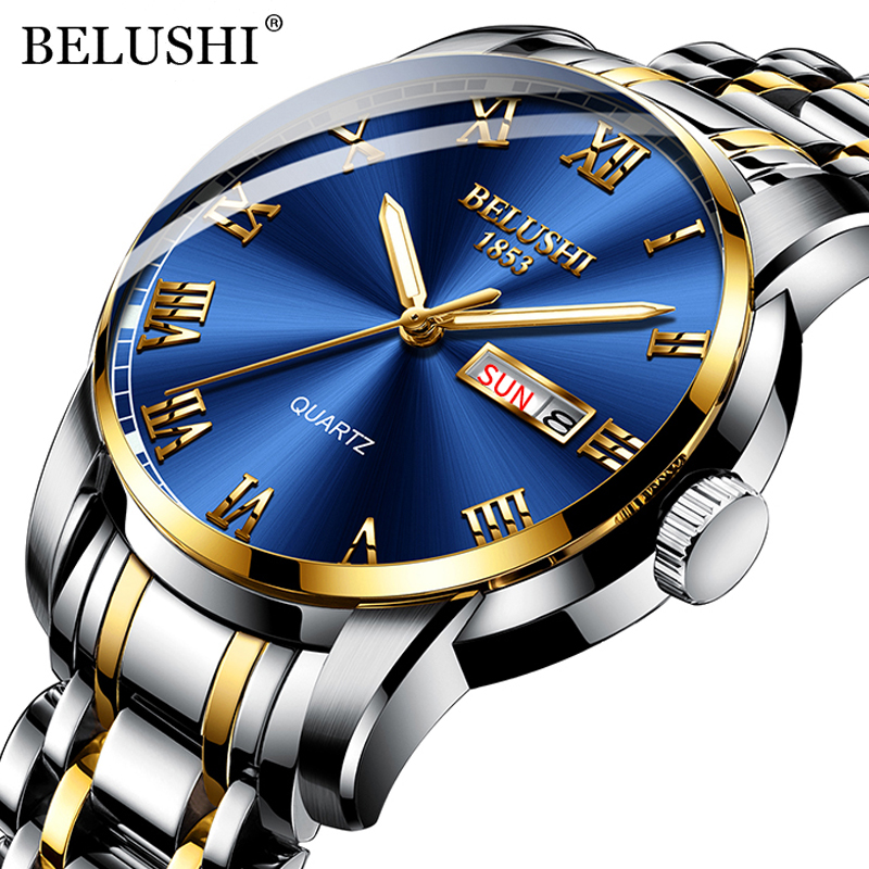 BELUSHI Top Brand Luxury Mens Watches Luminous Waterproof Stainless Steel Watch Quartz Men Date Calendar Business Wristwatch|Quartz Watches| - AliExpress