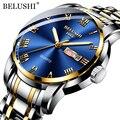 BELUSHI Top Marke Luxus Herren Uhren Leucht Wasserdichte Edelstahl Uhr Quarz Männer Datum Kalender Business Armbanduhr