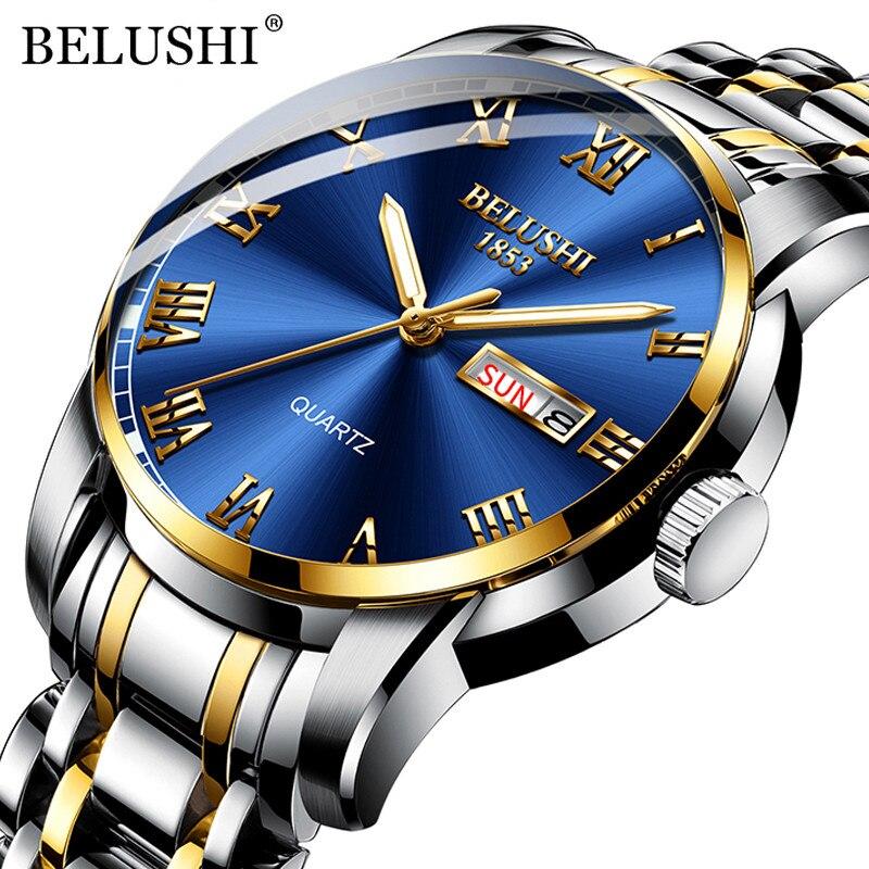 BELUSHI Top marka luksusowe zegarki Luminous wodoodporna stal nierdzewna zegarek kwarcowy mężczyźni data kalendarz biznes zegarek