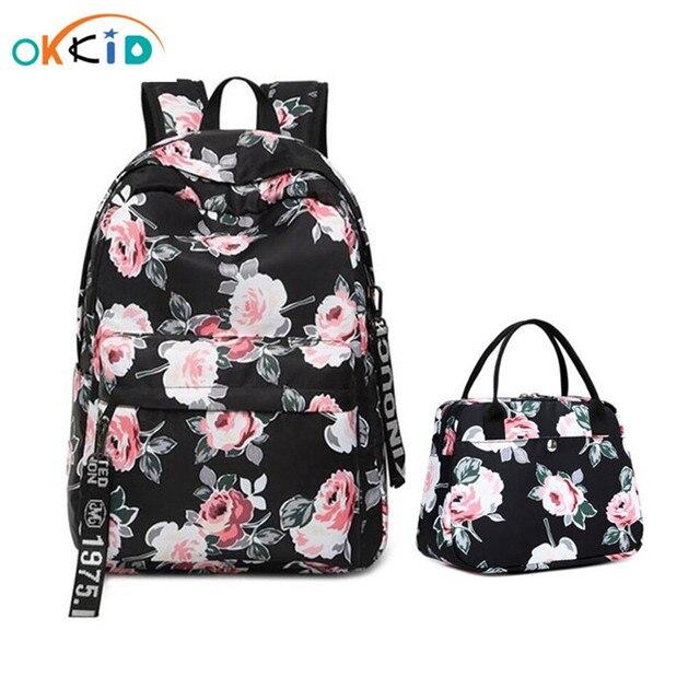 OKKID الأزهار حقيبة المدرسة للفتيات الأسود زهرة الطباعة على ظهره الأطفال الحقائب المدرسية حقيبة كتب الاطفال مجموعة هدية دروبشيبينغ