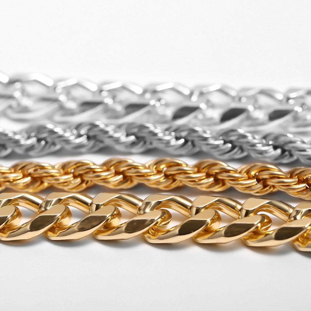 IngeSight.Z 2Pcs/Lot Curb Cuban Chunky Thick Twisted Bracelets Men Punk Hip Hop Gold Color Bracelets Bangles for Women Jewelry