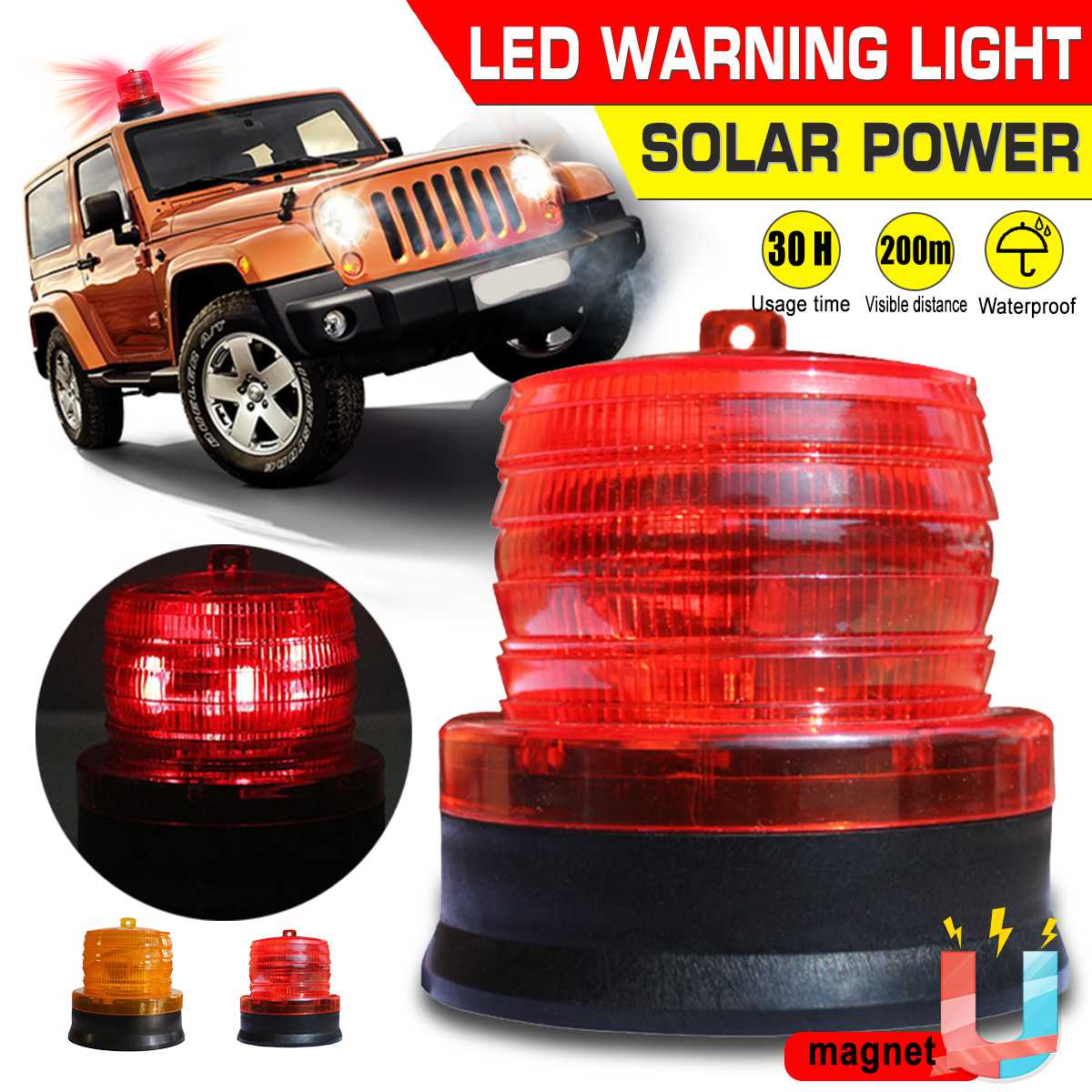 Waterproof Solar LED Car Truck Strobe Warning Light Polices LED Flashing Emergency Light Beacon Lamp Indicator Light With Magnet