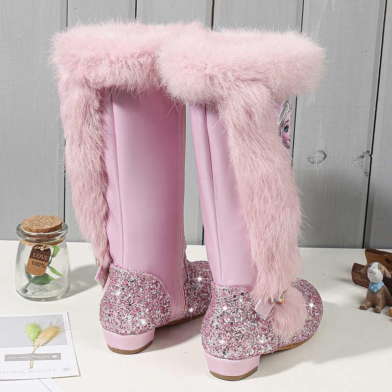 เด็กรองเท้าเด็กแฟชั่นรองเท้าหนังคุณภาพเลื่อมรองเท้าเข่าของแท้ผ้าขนสัตว์ร้อน Winte รองเท้า