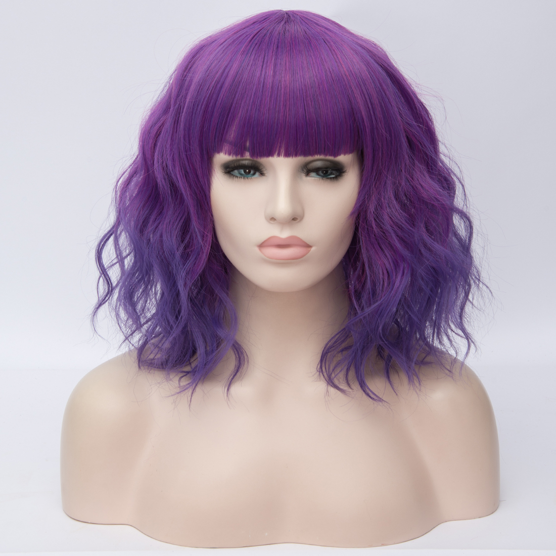 Hfa322f69a907455a8d6bf7fc77b0e9ddU - Similler Short Synthetic Wig for Women Cosplay Curly Hair Heat Resistance Ombre Color Blue Purple Pink Green Orange Two Tones