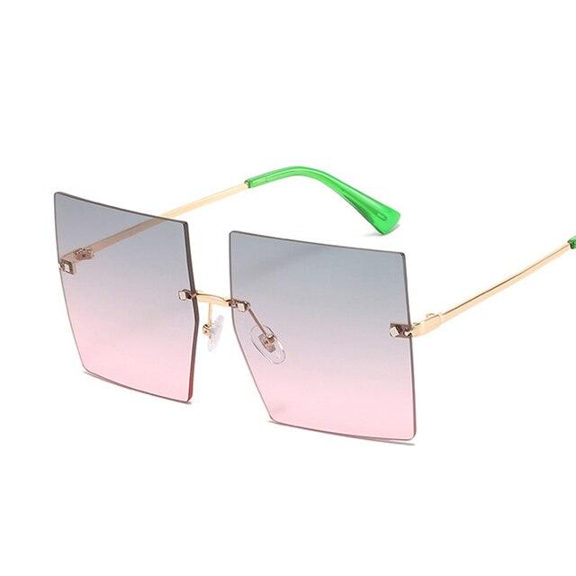 Gafas De Sol cuadradas Vintage para mujer, lentes De Sol De lujo sin montura, De marca De moda, De diseñador, transparentes 5
