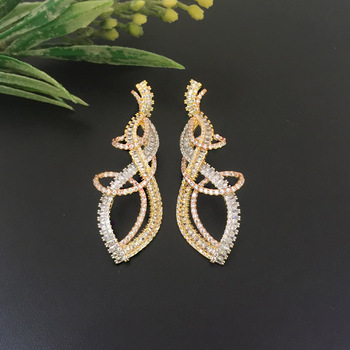 Lanyika Fashion Jewelry Stylish Contort Curve Eight Earrings zircon Micro inlay Micro Plated Banquet Popular Best Gift image