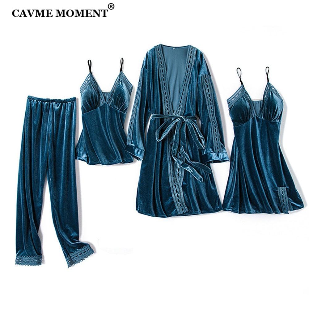 CAVME velours pyjama ensembles femmes hiver Pajma ensemble pour dames 4 pièces pleine manches pantalon Sexy dentelle couleur unie grande taille