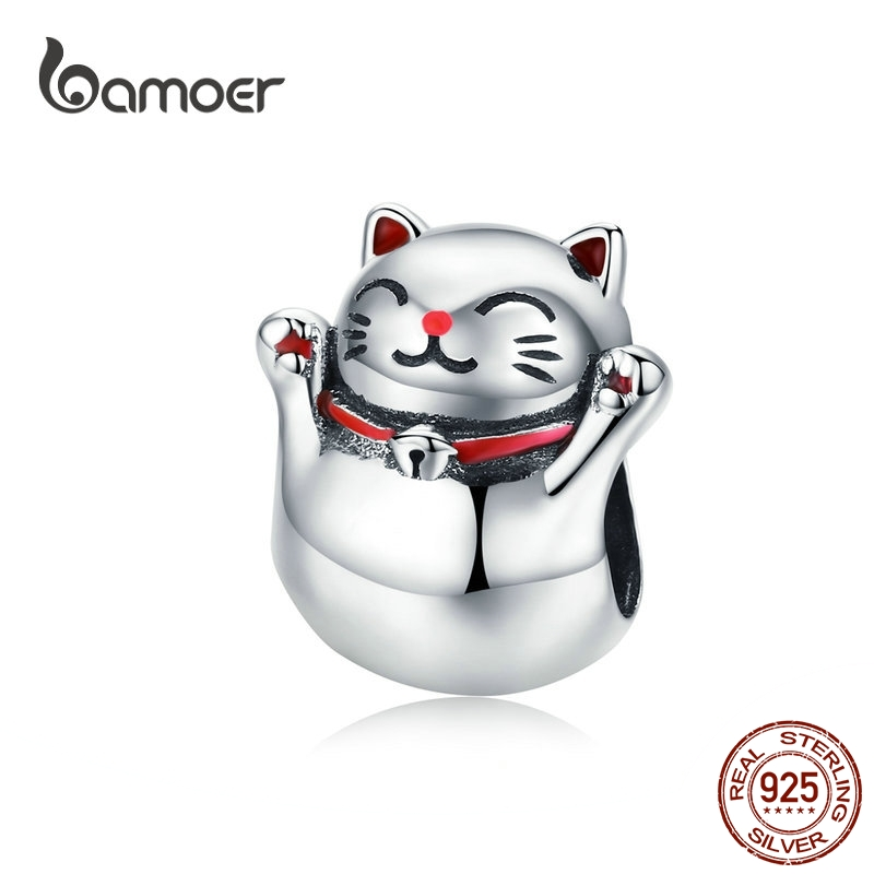 BAMOER 925 Silver Cat Metal Charm Lucky Guardian Maneki Neko Metal Beads for Women Charm Bracelets Bangles DIY Jewelry SCC1178(China)