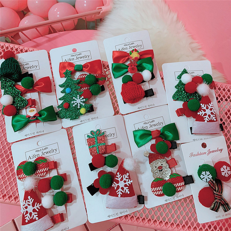 1/2/4PCS/set Cute Christmas Set Hair Clip Candy Santa Claus Hairpin Baby Girl Headdress Duckbill Clip Butterfly Hair Clip