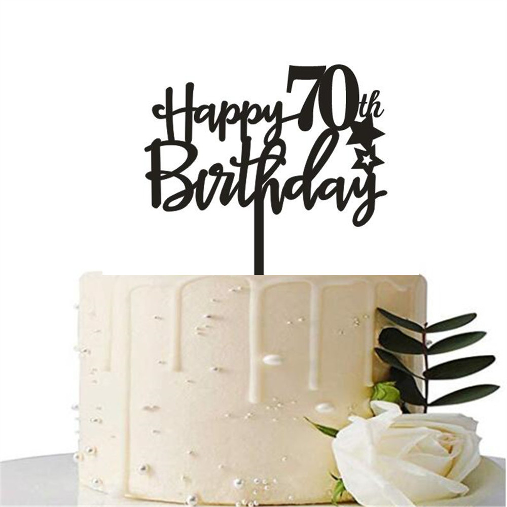 Happy 70th Birthday Cake Topper Black Happy 40th Birthday Cake Topper 60th Wedding Anniversary Cake Topper Party Decoration Cake Decorating Supplies Aliexpress