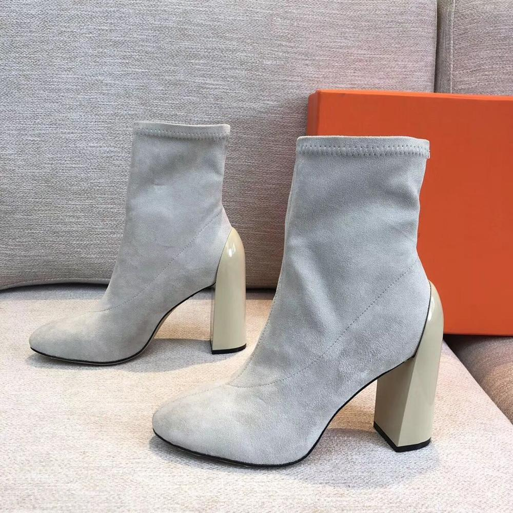 New Arrivals Hot Sale 2020 Flock Stretch Boots Women Shoes Woman Fashion Designer Boots Slip On Square Toe Ankle Boots
