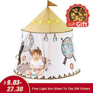 Image 1 - YARD Kid Tent House Portable Princess Castle 123*116cm Present Hang Flag Children Teepee Tent Play Tent Birthday Christmas Gift