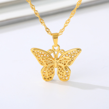 Gold Stainless Steel Stylish Butterfly Necklace Lovely Insect Animal Metal Necklace Chain Choker Woman Man Jewelry Mother's Day stylish coin fringe metal choker necklace