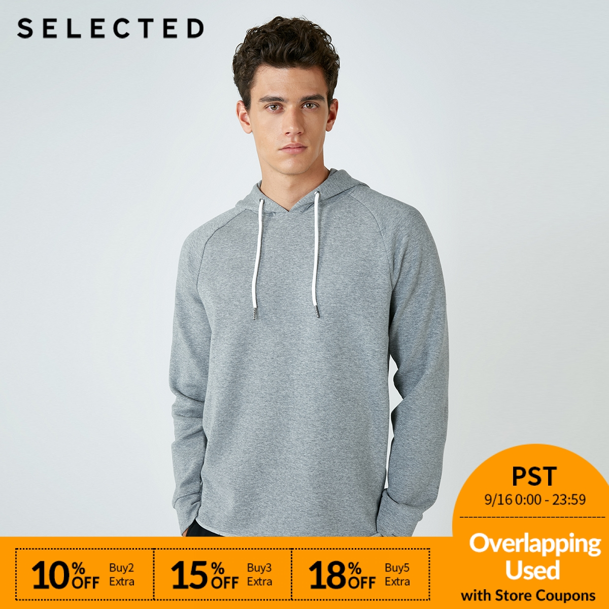 SELECTED  male New Cotton joint spliced sleeve hooded leisure hoodies men S418333527-in Hoodies & Sweatshirts from Men's Clothing    1