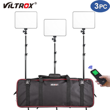 Vilrox VL-200T 3 pçs led luz de vídeo remoto sem fio bi-color kit de iluminação de painel regulável + 75