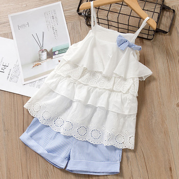 Melario print Kids Girls Clothing Sets Dot Summer Baby Girls Clothes Sleeveless T-Shirt Shorts Suit 2Pcs Children Clothes Suits 2