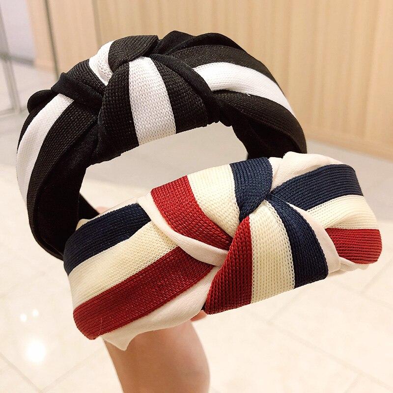 New Women Elegant Striped Top Knot Hairbands Sweet Headband Hair Holder Ornament Hair Bands Headwear Fashion Hair Accessories