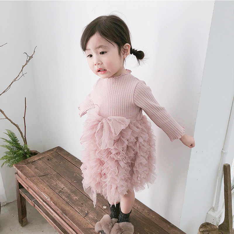 Autumn Winter Baby Girl Dress Long Sleeved Knitted Tutu Princess Dress Newborn Infant Party Baby Dress Fashion Baby Girl Clothes