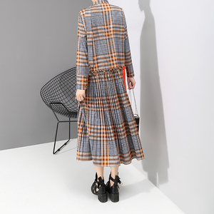Image 5 - New 2019 Korean Style Women Orange Plaid Long Dress With Tape V Neck Pleated Ladies Stylish Elegant Fashion Dress vestido 5516