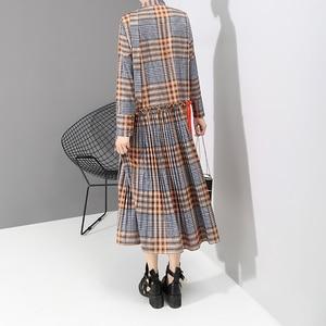 Image 5 - Nouveau 2019 Style coréen femmes Orange Plaid longue robe avec bande col en V plissé dames élégant élégant robe de mode vestido 5516