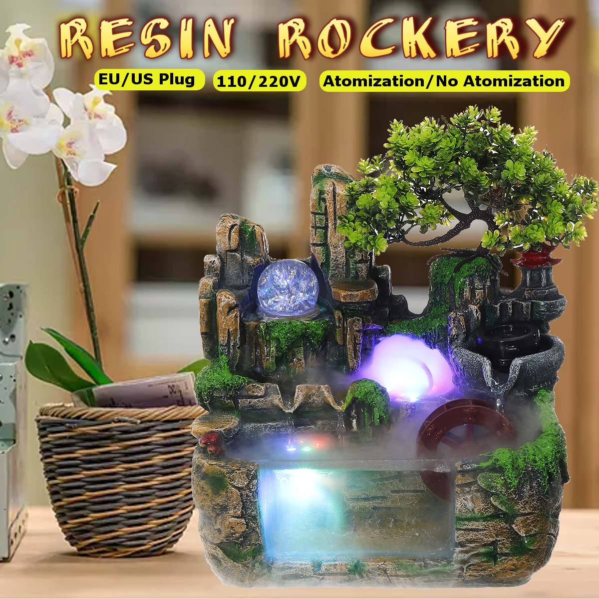 LED Lights Resin Rockery Flowing <font><b>Water</b></font> <font><b>Fountain</b></font> Lucky Feng Shui Wheel Office Desktop Ornaments With Nebulizer <font><b>Home</b></font> <font><b>Decoration</b></font> image