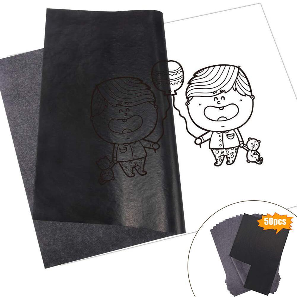 50Pcs/Set Black A4 Copy Carbon Paper Painting Tracing Graphite Reusable Legible Paper Tracing Painting Painting Accessories N0S2