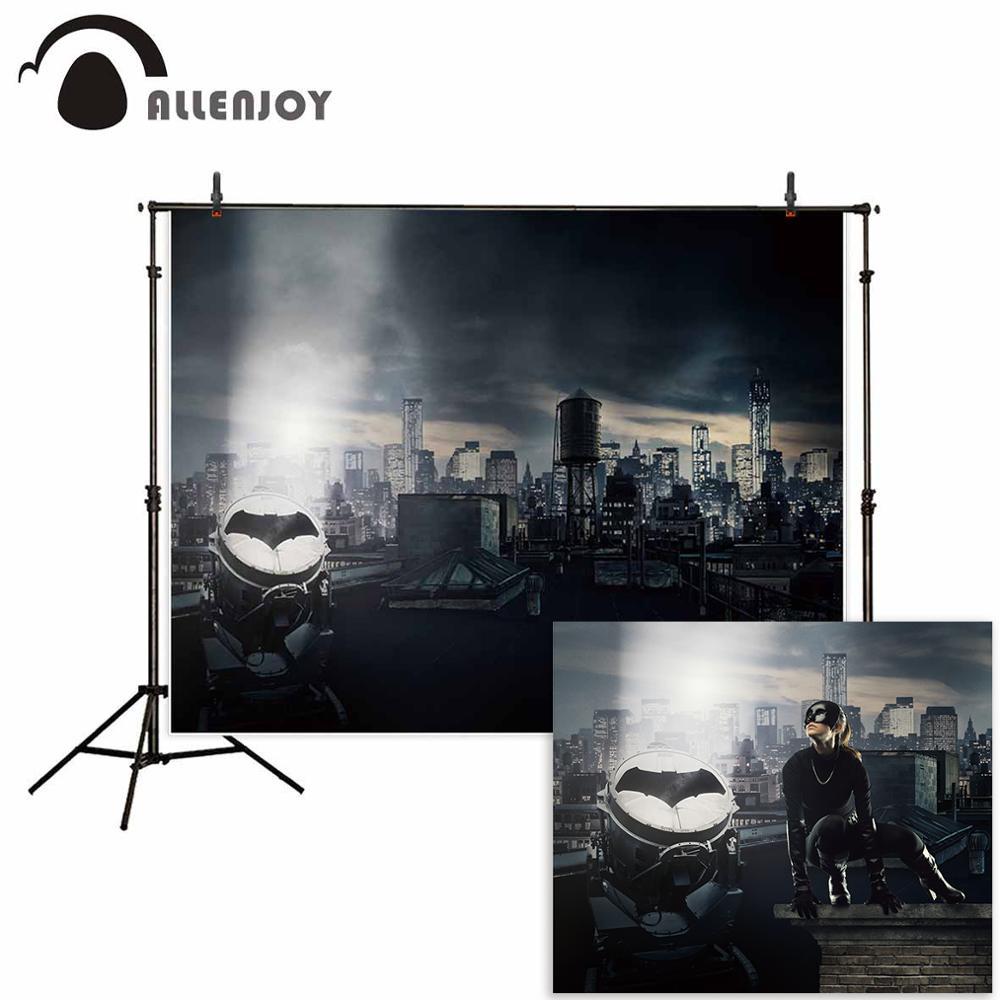 Allenjoy fotografía Batman fondo oscuro de construcción de la ciudad de super hero Fondo photocall boda foto estudio photozone de vinilo