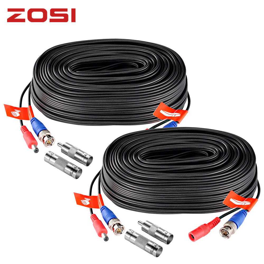 ZOSI 18M 30M CCTV Cable BNC DC Power Plug Cable For CCTV Camera DVR Security Black Surveillance System Accessories Video Cable