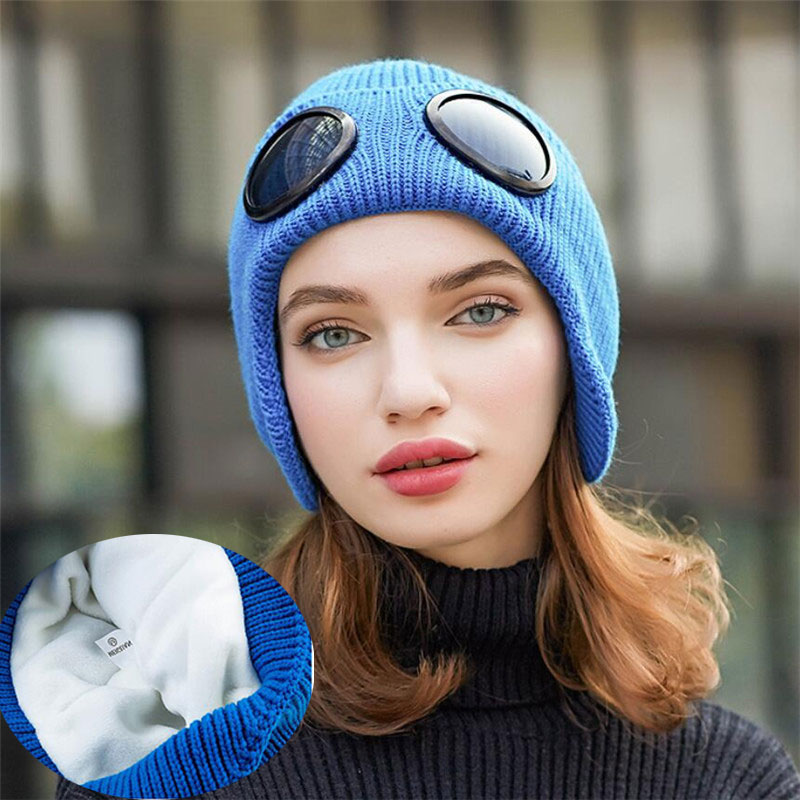 Women Mickey Knitted Solid Skullies Beanie Cap Ear Protection Windproof Warm Hat