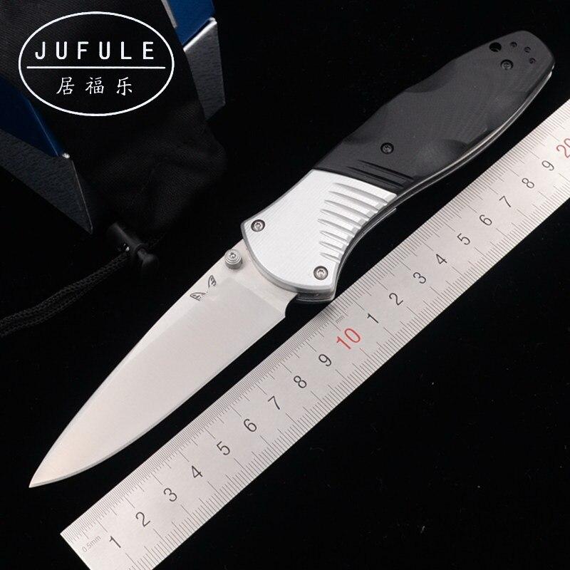 Jufule 581 real d2 lâmina de alumínio g10 lidar com dobrável caça acampamento bolso sobrevivência ao ar livre jantar edc ferramenta faca cozinha tática