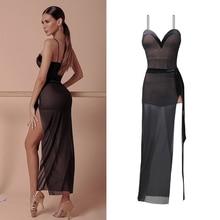 Ballroom-Wear Salsa Dress Performance Rumba Zymdancestyle Sexy Long -2033h Brownie Split