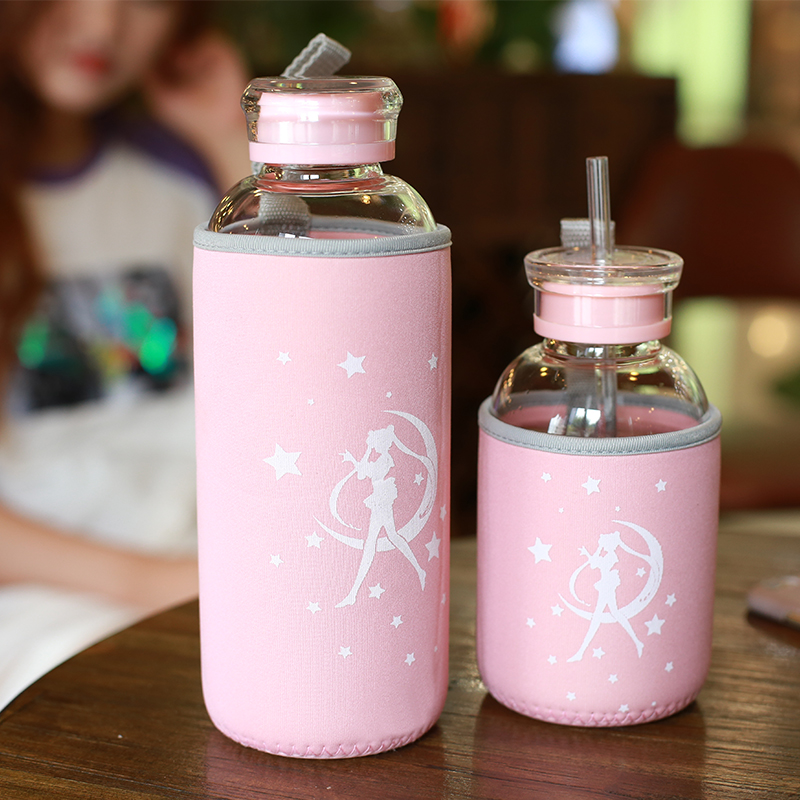 Creative Cute Cartoon Sailor Moon Cup Lid Thermos Cover Bag Bag Insulated Glass Cover Portable Rope Protection Bottle Cap