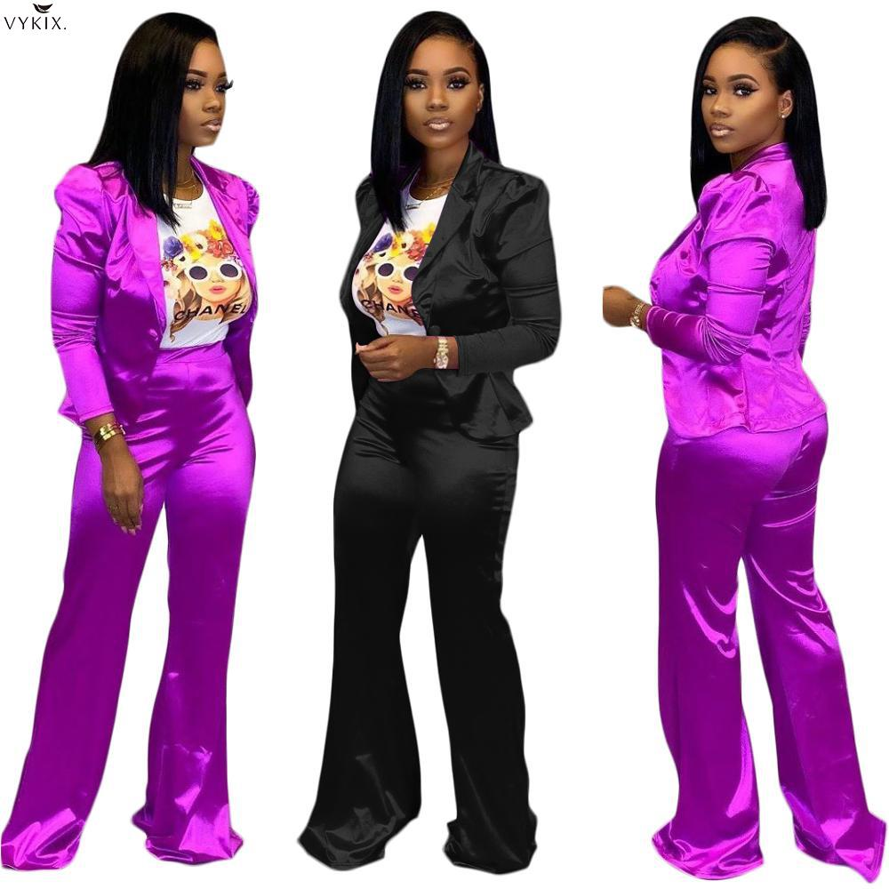 Two Piece Set Top And Pants Blazer Suit Coats Outwear Matching Sets High Waist Pants Trousers Streetwear Women Two Piece Outfits
