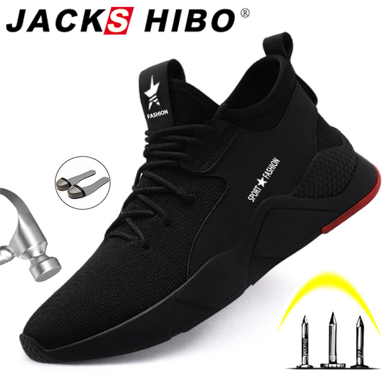 JACKSHIBO Safety Shoes For Men Winter Fur Lining Work Shoes Steel Toe Anti-smashing Shoe Male Construction Work Mesh Sneakers