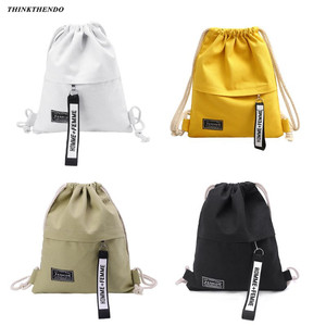 Men Women Cinch Sack Canvas Storage Backpack Unisex Casual School Gym Drawstring Shoulder Bag Pack Rucksack Pouch 2019 Fashion(China)