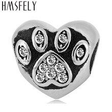 HMSFELY European Charm Heart Beads For DIY Bracelet Jewelry making Accessories Bead 316l Stainless Steel Footprint