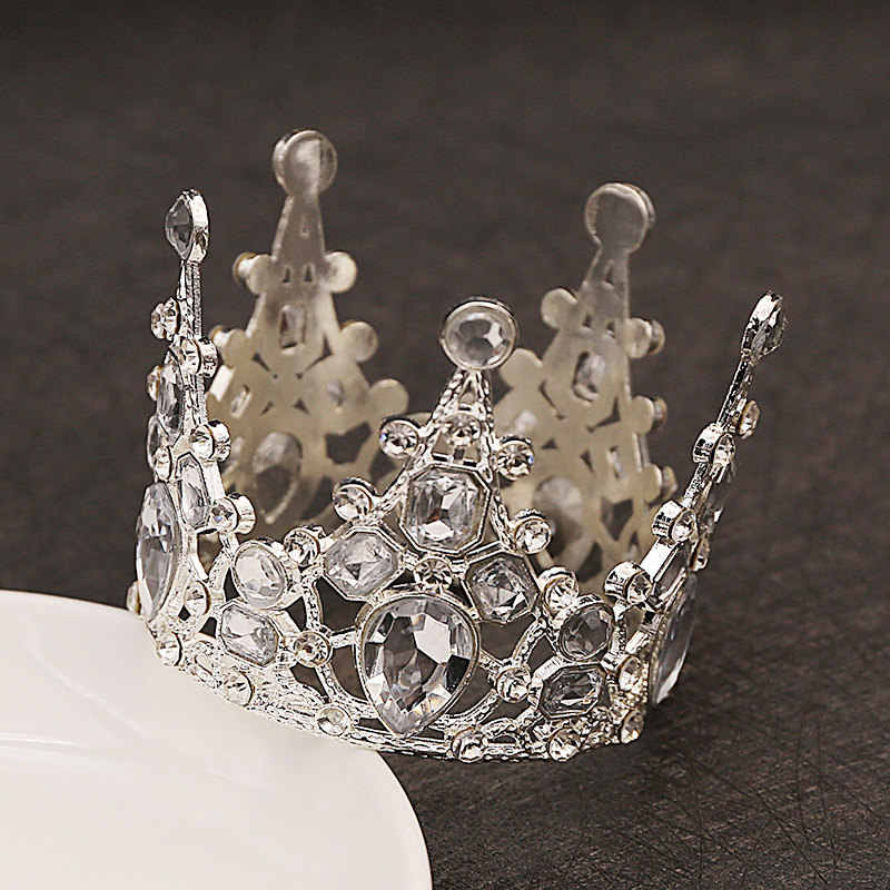 Diadèmes de mariage de mariée cristal petite couronne Brithday gâteau cuisson décoratif tête bijoux enfants petit diadème cheveux accessoires