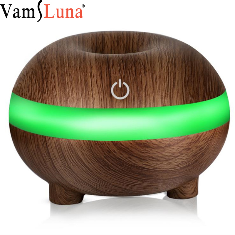 300 Ml Ultrasonic Air Humidifier Aroma Essential Oil Diffuser With Wood Grain Purifier Cool Mist Steam Controller Office Home