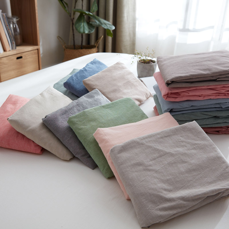 Pure Cotton Washed Cotton Fitted Bed Sheet One-Piece Solid Color Double Linen Bare Sleeping Cotton Plain Color Single Person Fit