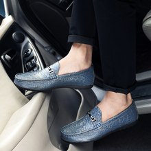 Classic Crocodile British Style Men Casual Shoes Soft Leather Flats Loafers Handmade Moccasins Light Weight Plus Size