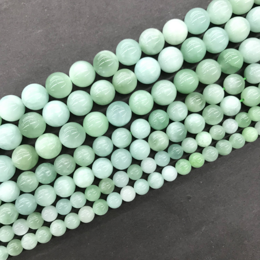 Natural Green Jade Round Loose Bead Healing Energy Stone DIY Jewelry MakingBracelet NecklaceDesign 4mm 6mm 8mm 10mm