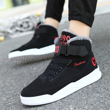 Lovers Couple Men Snow Boots Winter Cotton Shoes with fur Lace-up Sneakers Warm