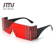 Gafas de sol clásicas sin montura para mujer, gafas de sol cuadradas de gran tamaño de marca de lujo 2020, gafas Retro, monturas únicas rojas y negras