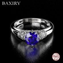 Мода Аквамарин аметистовое кольцо 925 пробы Серебряное кольцо с драгоценным камнем натуральный для ювелирные изделия кольцо с синим сапфиром Обручение Вечерние