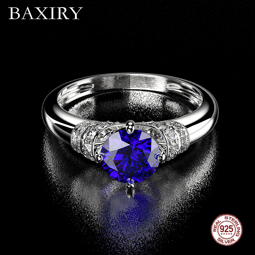 2019 Trendy Aquamarine Amethyst Ring 925 Sterling Silver Gemstone Ring Natural For Jewelry Blue Sapphire Ring Engagement Party