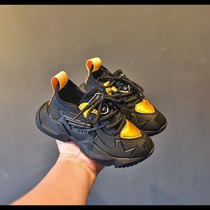 Image 3 - Zapatillas de deporte casuales para niños, zapatos de malla para niñas pequeñas, deportivas gruesas de marca, color negro, novedad de otoño