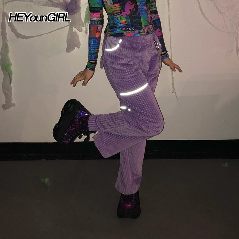 HEYounGIRL Reflective Strips Purple Corduroy Pants Capris Casual High Waist Trousers Pockets Solid Loose Pants Streetwear Autumn