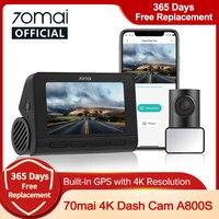 70mai A800S 4K DVR per auto GPS ADAS 70mai 4K Dash Cam A800S 24H parcheggio Monitior 140FOV supporto telecamera posteriore doppia visione