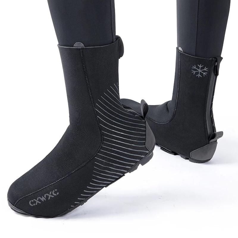 Inverno ciclismo sapato capa para mtb bicicleta de estrada à prova dwaterproof água overshoes esportes neoprene térmica quente equitação bloqueio botas cobre